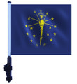 SSP Flags STATE of INDIANA Golf Cart Flag with SSP Flags Bracket and Pole