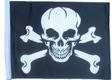 PIRATE SKULL & CROSS BONES 11in x15 Replacement Flag for Motorcycle, Golf Cart and Car flag poles