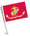 LICENSED U.S. MARINE CORPS CAR FLAG with Pole