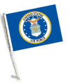 LICENSED US AIR FORCE COAT OF ARMS CAR FLAG with Pole