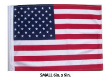 USA, United States, American, Small 6x9 Golf Cart Flag with SSP Flags EZ On & Off Bracket  FLAG - SMALL 6in.x9in.