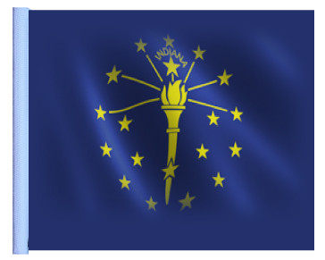 STATE of INDIANA Motorcycle Flag with Sissybar or Trunk Style Pole