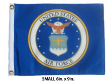 LICENSED US AIR FORCE COAT OF ARMS Small 6in. X 9in. Flag with GROMMETS