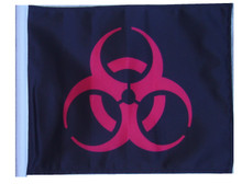 BIOHAZARD RED Motorcycle Flag with Sissy or Trunk Style Pole SSP Flags