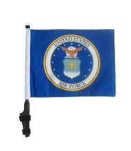 "SSP Flags LICENSED AIR FORCE CODE OF ARMS 11""x15"" Flag with Pole and EZ On Extended Straps Bracket"