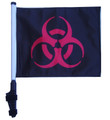 "SSP Flags BIOHAZARD RED 11""x15"" Flag with Pole and EZ On Extended Straps Bracket"