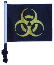 "SSP Flags BIOHAZARD YELLOW 11""x15"" Flag with Pole and EZ On Extended Straps Bracket"