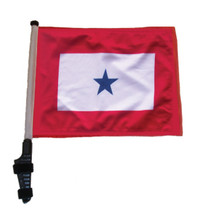 "SSP Flags BLUE STAR 11""x15"" Flag with Pole and EZ On Extended Straps Bracket"