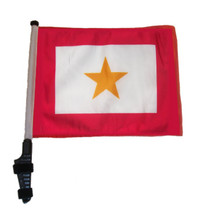 """SSP Flags GOLD STAR 11""""x15"""" Flag with Pole and EZ On Extended Straps Bracket"""