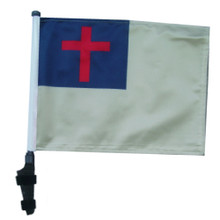 """SSP Flags CHRISTIAN 11""""x15"""" Flag with Pole and EZ On Extended Straps Bracket"""