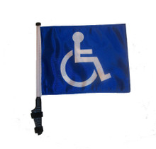 "SSP Flags HANDICAP 11""x15"" Flag with Pole and EZ On Extended Straps Bracket"