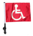"SSP Flags RED HANDICAP 11""x15"" Flag with Pole and EZ On Extended Straps Bracket"