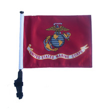"SSP Flags LICENSED US MARINE CORPS 11""x15"" Flag with Pole and EZ On Extended Straps Bracket"
