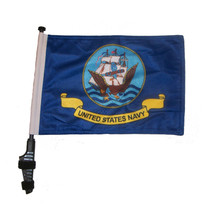 "SSP Flags NAVY 11""x15"" Flag with Pole and EZ On Extended Straps Bracket"