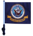 "SSP Flags RETIRED NAVY 11""x15"" Flag with Pole and EZ On Extended Straps Bracket"