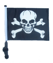 "SSP Flags PIRATE SKULL & CROSS BONES 11""x15"" Flag with Pole and EZ On Extended Straps Bracket"