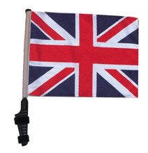 """SSP Flags UNION JACK / BRITISH 11""""x15"""" Flag with Pole and EZ On Extended Straps Bracket"""