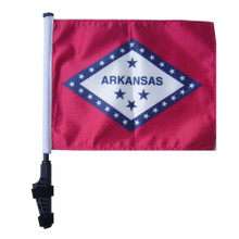 "SSP Flags STATE of ARKANSAS 11""x15"" Flag with Pole and EZ On Extended Straps Bracket"