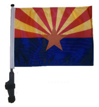 "SSP Flags STATE of ARIZONA 11""x15"" Flag with Pole and EZ On Extended Straps Bracket"
