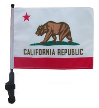 "SSP Flags STATE of CALIFORNIA 11""x15"" Flag with Pole and EZ On Extended Straps Bracket"