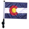 "SSP Flags STATE of COLORADO 11""x15"" Flag with Pole and EZ On Extended Straps Bracket"