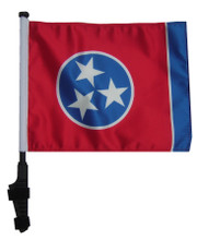 "SSP Flags TENNESSEE 11""x15"" Flag with Pole and EZ On Extended Straps Bracket"