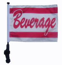 "SSP Flags BEVERAGE 11""x15"" Flag with Pole and EZ On Extended Straps Bracket"