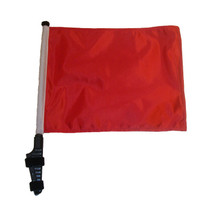 "SSP Flags RED 11""x15"" Flag with Pole and EZ On Extended Straps Bracket"