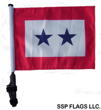 "SSP Flags TWO BLUE STARS 11""x15"" Flag with Pole and EZ On Extended Straps Bracket"