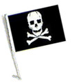 PIRATE SKULL AND CROSS BONES Car Flag with Pole