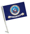 RETIRED NAVY Car Flag with Pole