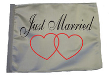 JUST MARRIED 11in x15 Replacement Flag for Motorcycle, Golf Cart and Car flag poles