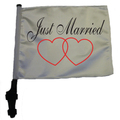 SSP Flags JUST MARRIED Golf Cart Flag with SSP Flags Bracket and Pole