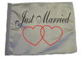 SSP Flags JUST MARRIED Motorcycle Flag with Sissybar Pole or Trunk Pole