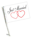 JUST MARRIED Car Flag with Pole