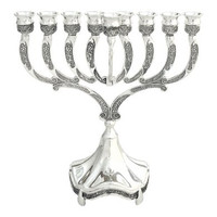 "chanukah menorah  Nickel  9"" (M-6623-N)"