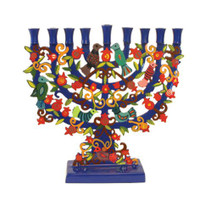 Painted Lazer Cut-out Standing Chanukkah Menorah