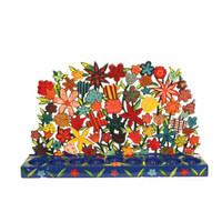 Large Painted Lazer Cut-out Chanukah Menorah Tea Lights - Flowers (EM-HMX2)