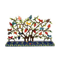 Large Lazer Cutout Menorah Tea Lights - Birds on Pomegranate Tree