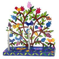 Lazer Cutout Menorah - Birds on Pomegranate Tree