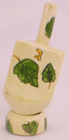 Karshi Ceramic Dreidel + Stand - Leaves (DR-5945)