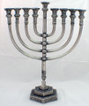 "Mikdash 16"" Pewter Menorah (M-216-P)"