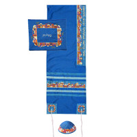 """Yair emanuel Embroidered Raw Silk Tallit – Jerusalem Blue 16"""" X 70""""  TAB-2B"""