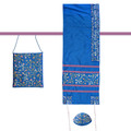 "Yair emanuel Embroidered Raw Silk Women Tallit – Tallisack - Flowers Blue 16"" X 70""  TAB-1B"