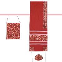 "Yair emanuel Embroidered Raw Silk Women Tallit – Tallisack - Flowers Maroon 16"" X 70""  TAB-1M"