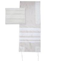 "Yair emanuel Lace Embroidered Tallit – Light  16"" X 70""  TLS-1"