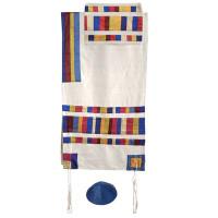 Yair emanuel Raw Silk Appliqued Stripes Tallit – Multicolor TRA-1