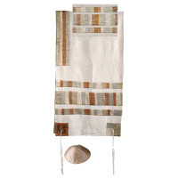 Yair emanuel Raw Silk Appliqued Stripes Tallit – Gold TRA-2