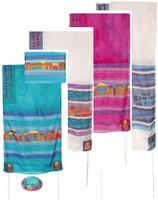 "Yair emanuel Hand-Painted Silk Tallit – Jerusalem  21"" x 77"" TS-1"