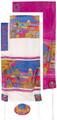"Yair emanuel Hand-Painted Silk Tallit – Jerusalem Gate 21"" x 77"" TS-3"
